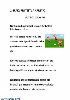 Interactive worksheet Futbol zelaian