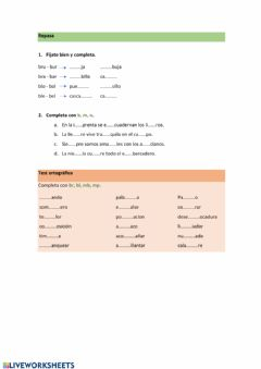 Interactive worksheet Repaso br, bl, mp, mb