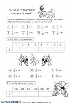 Interactive worksheet Calcolo di frazione