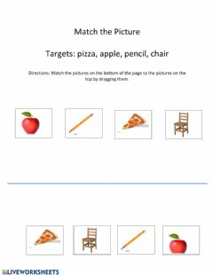 Interactive worksheet Match: apple, pencil, pizza, chair