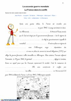 Interactive worksheet La seconde guerre mondiale - La France dans le conflit
