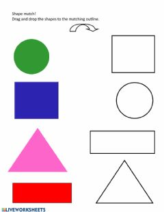 Ficha interactiva Matching 4 shapes