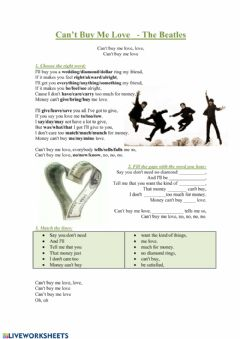 Interactive worksheet Can't buy me love - The Beatles
