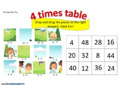 Interactive worksheet 4 times table
