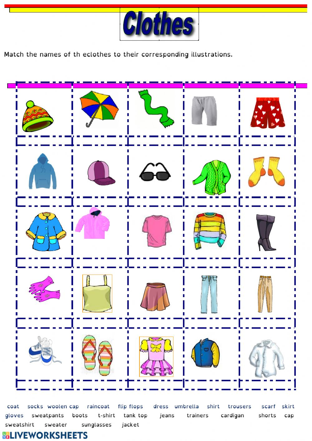 Clothes And Accessories Exercise