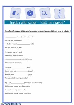 Interactive worksheet Past simple continuous song