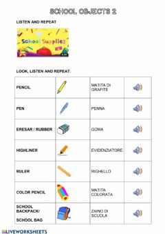 Interactive worksheet School objects 2