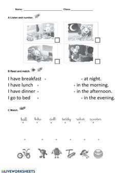 Interactive worksheet Routines, toys and prepositions test