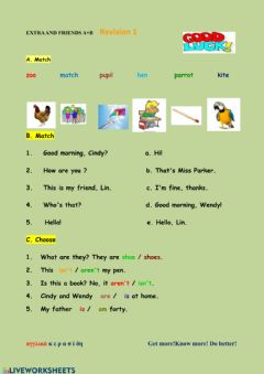 Interactive worksheet Extra and Friends Revision 1