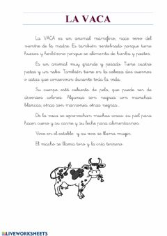 Interactive worksheet Animales:la vaca