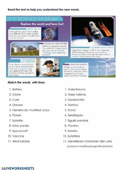 Interactive worksheet Science vocabulary