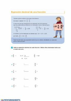 Interactive worksheet Expresion de cimal en una fraccion