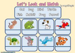 Interactive worksheet 2.8. Pets - Let's Look and Match