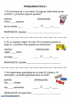 Interactive worksheet Problemas 1º ficha 1