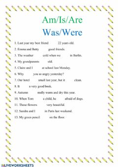 Interactive worksheet Am-is-are or was-were
