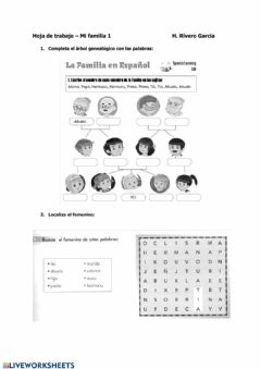 Interactive worksheet A1A2 Mi familia 01