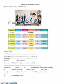 Interactive worksheet Favourite day at school
