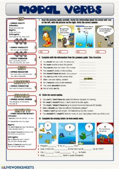 Interactive worksheet Modal verbs: can, must, mustn't, should, have to