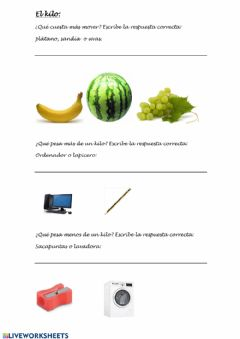 Interactive worksheet El kilogramo