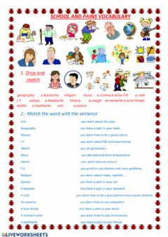 Interactive worksheet School and pains