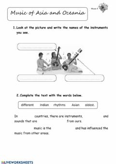 Interactive worksheet Asian and Oceania music
