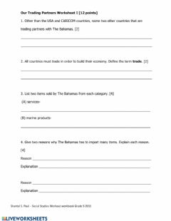 Interactive worksheet Our Trading Partners