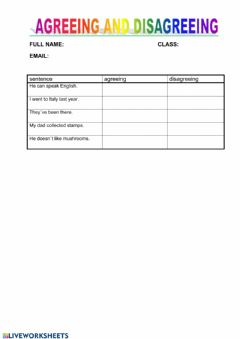 Interactive worksheet Agreeing and Disagreeing