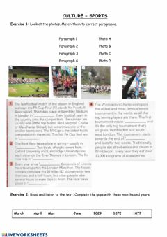 Interactive worksheet CULTURE - sports events