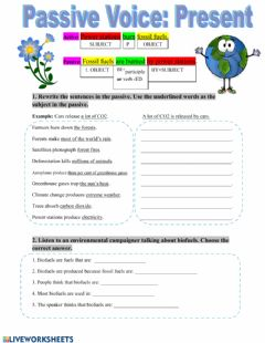 Interactive worksheet Passive Voice Present