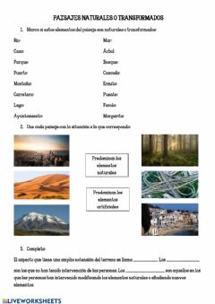 Interactive worksheet Paisajes naturales o transformados