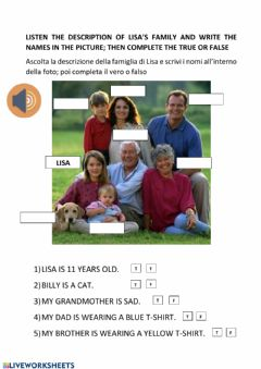 Interactive worksheet Family members - listening and reading comprehension