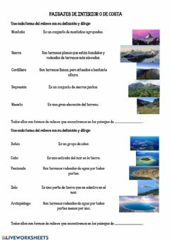 Interactive worksheet Paisajes de interior o de costa