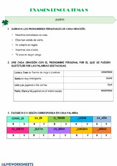 Interactive worksheet Examen lengua t8
