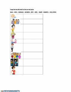 Interactive worksheet PEOPLE