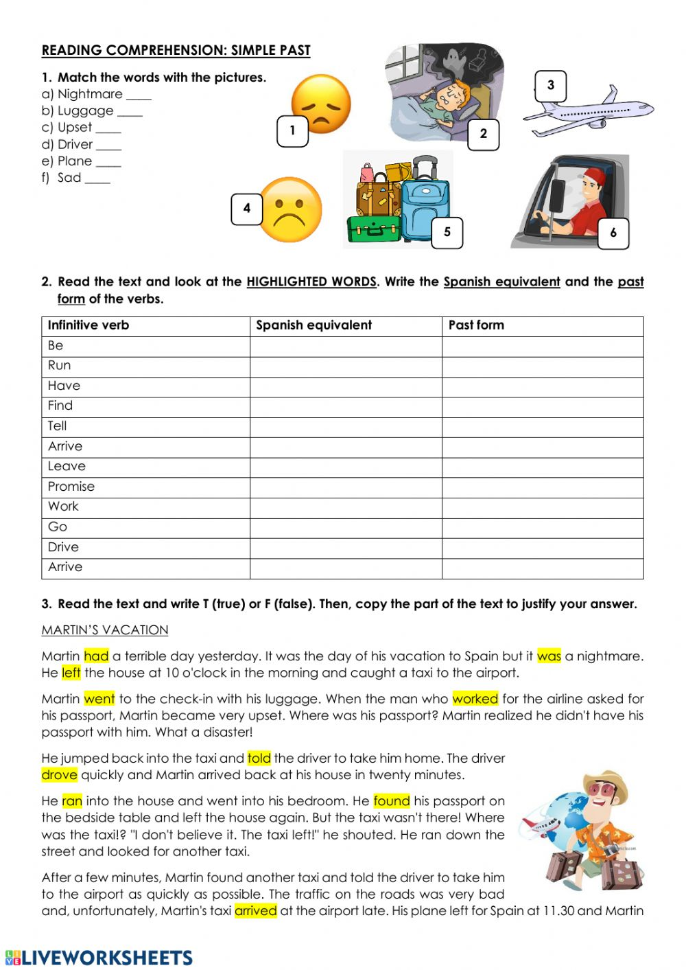 - Reading Comprehension - Past Simple - Interactive Worksheet
