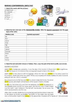 Interactive worksheet Reading comprehension - Past simple