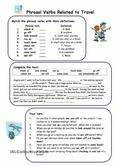 Interactive worksheet Phrasal Verbs related to Travel