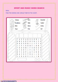 Ficha interactiva Sport and music word search