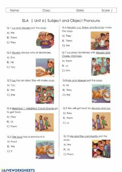 Ficha interactiva Subject and Object Pronouns