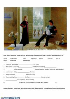 Interactive worksheet Describing a picture, prepositions of place