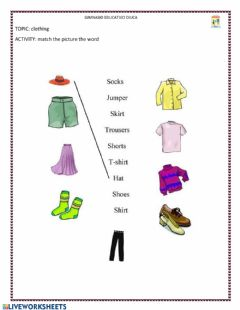 Interactive worksheet Prendas de vestir en ingles
