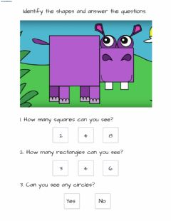 Interactive worksheet Hippo - Shapes