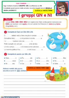 Interactive worksheet I suoni GN e NI
