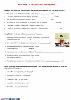 Interactive worksheet How often...? + Expressions of frequency