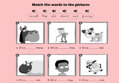 Interactive worksheet Animals and adjectives