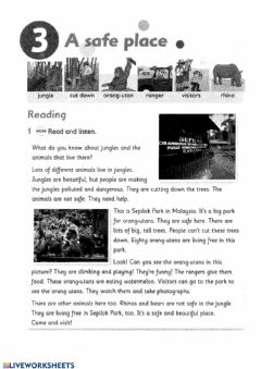 Interactive worksheet Reading and writing - A Safe Place
