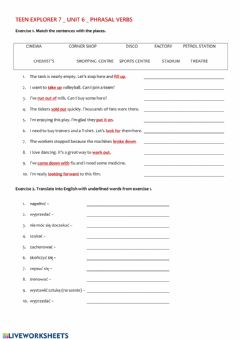 Interactive worksheet Teen Explorer 7 Phrasal verbs