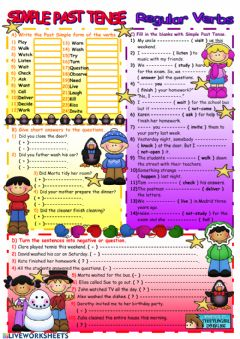 Ficha interactiva Present simple regular verbs