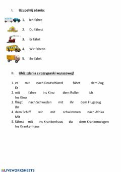 Interactive worksheet Verkehrsmittel