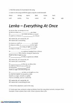 Ficha interactiva Lenka - everything at once